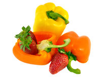 Bell peppers and strawberries isolated Royalty Free Stock Images