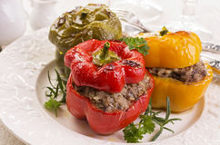 Bell Peppers Stuffed with Meat Stock Images
