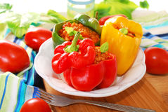 Bell peppers stuffed with minced meat Royalty Free Stock Photos