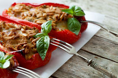 Bell Peppers Stuffed With Tuna Fish Stock Images
