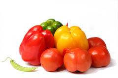 Bell peppers and tomato Stock Photo