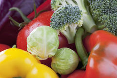 Bell peppers tomato brokkoli red cabbage brussel sprouts close up Stock Photography