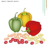 Bell Peppers with Vitamin C, B6 and K Stock Images