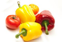 Bell Peppers on a white background Royalty Free Stock Images