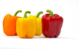 Bell Peppers- yellow, orange and red Stock Images