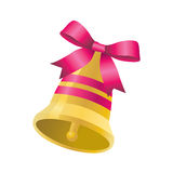 Bell with a pink ribbon Royalty Free Stock Photos