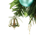 Bell que cuelga en el árbol de navidad Fotografía de archivo