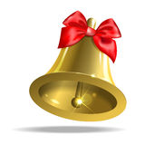 Bell. With a red bow on white background Royalty Free Stock Photography