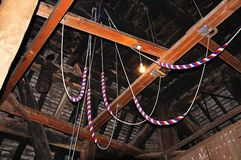 Bell ringing ropes. Stock Photos
