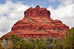 Bell Rock Butte Canyon Sedona Arizona. Bell Rock Butte Orange Red Rock Canyon Blue Cloudy Sky Green Trees Snow Sedona Arizona stock photo
