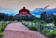 Bell rock mountain in Sedona. View of the Bell Rock Mountain in Sedona at twilight. Late sunset time colored picture in purple colors, it will be dark in few royalty free stock images