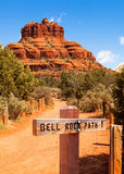 Bell Rock Path in Sedona Arizona. Scenic view of Bell Rock in Sedona, Arizona USA with path marker at trail head stock images