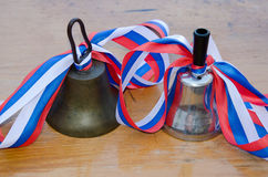 Bell in the Russian school on 1 September Stock Image