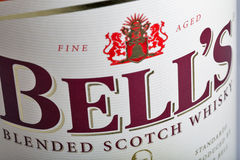 Bell`s blended Scotch Whisky bottle closeup Royalty Free Stock Images