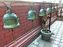 Bell shake for believes religion. Bell  shake  around pagoda gold Stock Photos