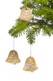 Bell shape cookies at Christmas tree Stock Photo