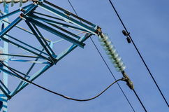 Bell-shaped insulator chain of electric power transmission line stock image