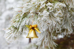 Bell on snow tree background Royalty Free Stock Photo