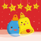 Bell sphere and star cartoon of Chistmas design Royalty Free Stock Photos