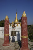 Bell and Stupa of Maha Aung Mye Bonzan Monastery (Inwa, Myanmar) Royalty Free Stock Photos