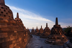 Bell Stupas at the Buddhist temple of Borobudur Royalty Free Stock Images