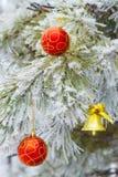 Bell sull'albero della neve - fondo Immagine Stock