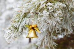 Bell sur le fond d'arbre de neige Photo libre de droits