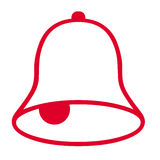 Bell symbol. Red bell symbol on white background Royalty Free Stock Images
