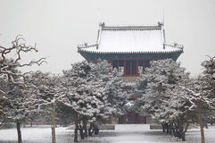 Bell temple after snow. A bell temple after snow in Hall of Abstinence, temple of heaven park, Beijing China Stock Image