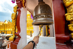 Bell of the temple Wat Phra That Haripunchai in Lamphun Stock Image