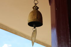 A bell in the temple. When wind is blow, a bell has sound Royalty Free Stock Photo