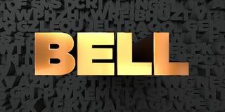 Bell - texte d'or sur le fond noir - photo courante gratuite de redevance rendue par 3D Image libre de droits