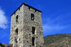 The Bell tower Ð¡hurch of St. Stephen in Andorra la Vella, Principality of Andorra. It is Romanesque in origin 12th century and was considerably modified royalty free stock images