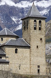 Bell tower. View of the parish church tower (sixteenth century) in Torla, Pyrenees, Huesca, Aragon, Spain Royalty Free Stock Photos