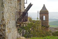 Poggioreale, old ghost town. Hit by an earthquake. Bell tower of crumbling historic building stock photo