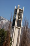 Bell tower. The bell that rings on the hour and plays tunes too.  This tower is on BYU LDS Campus Stock Photography