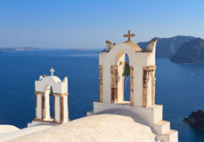 Bell tower above the sea in Santorini Stock Photos