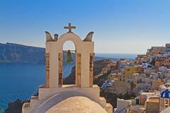 Bell tower above the sea in Santorini Royalty Free Stock Photos