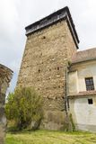 Barcut fortified church - bell tower royalty free stock photos