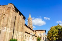 The bell tower of the Basilica of Saint Sernin. Toulouse, France Stock Image