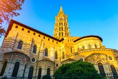 The bell tower of the Basilica of Saint Sernin. Toulouse, France Royalty Free Stock Images