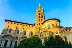 The bell tower of the Basilica of Saint Sernin, Toulouse royalty free stock photo