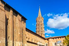 The bell tower of the Basilica of Saint Sernin, Toulouse. France Stock Image