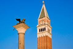 Bell tower of the Basilica of San Marco, Venice Stock Photos