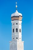 Bell tower of Bavarian Church in German Alps Royalty Free Stock Image