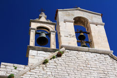 Bell tower with bells, Church of St. Barbara at Sibenik Royalty Free Stock Photography