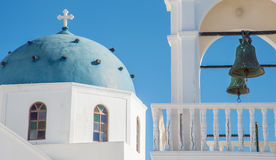 Bell tower and blue dome of Greek Orthodox church Stock Photo