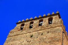 Bell tower on blue sky, Monreale cathedral Stock Images