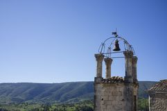 Bell tower and campanile church in Lacoste, Luberon, France. royalty free stock photos