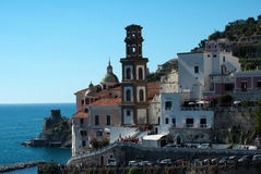 Bell tower cathedral Atrani city Stock Photo